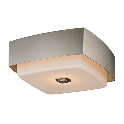 Nina Silver Leaf Two-Light 13-Inch Square Flush Mount