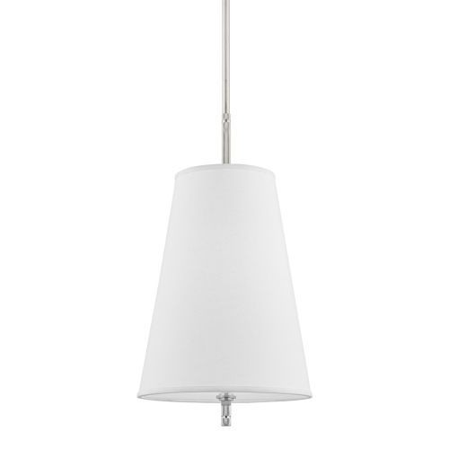 Blake Polished Nickel One-Light Pendant with White Belgian Linen Shade