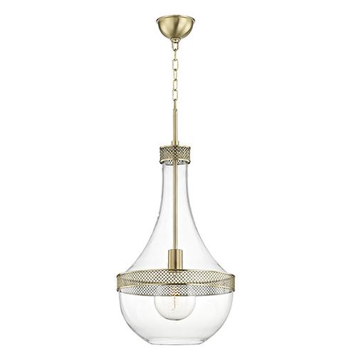 Iris Aged Brass One-Light 14-Inch Pendant