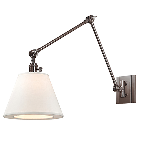 Rae Historic Nickel One-Light Swing Arm Wall Sconce with White Shade