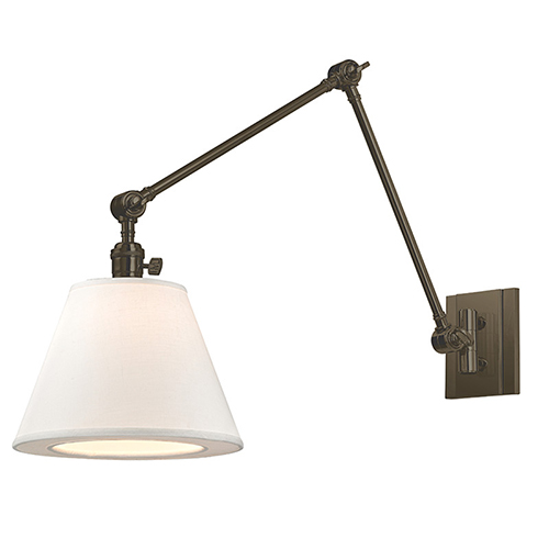 Rae Old Bronze One-Light Swing Arm Wall Sconce with White Shade