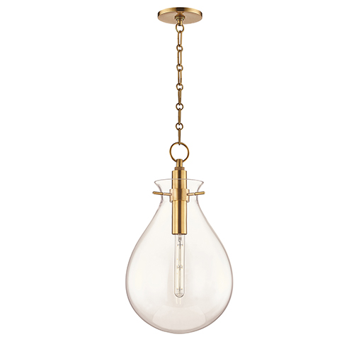 Delta Aged Brass Clear Glass LED Pendant