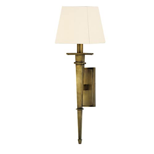 Hudson Aged Brass Square One-Light Wall Sconce with White Shade
