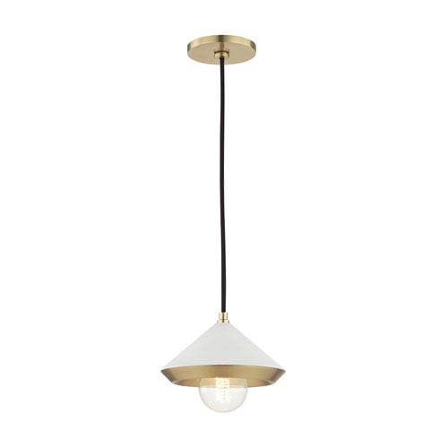 Lauren Aged Brass Eight-Inch One-Light Mini Pendant with White Shade