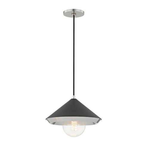 Lauren Polished Nickel 12-Inch One-Light Pendant with Black Shade