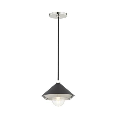 Lauren Polished Nickel Eight-Inch One-Light Mini Pendant with Black Shade