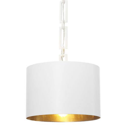 Mill Mason Elinor Matte White And Antique Gold 12 Inch One Light Drum Pendant
