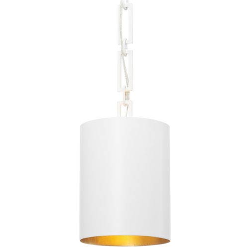 Mill & Mason Elinor Matte White and Antique Gold Eight-Inch One-Light Mini Pendant