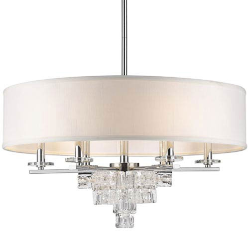 Blaire Polished Chrome 25-Inch Six-Light Pendant with Glass Crystal