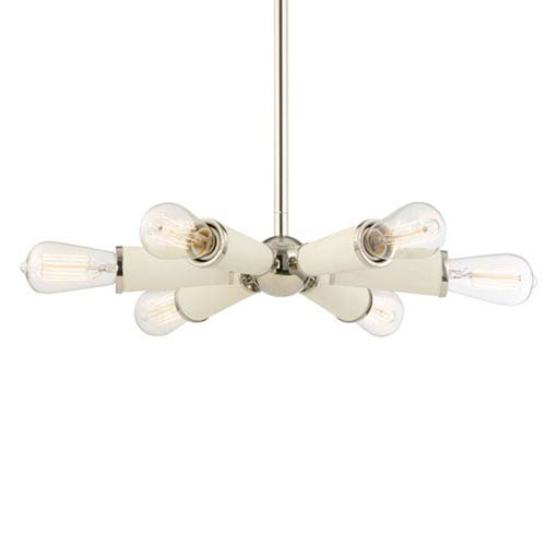 Mill & Mason Comet Polished Nickel 10-Inch Six-Light Chandelier