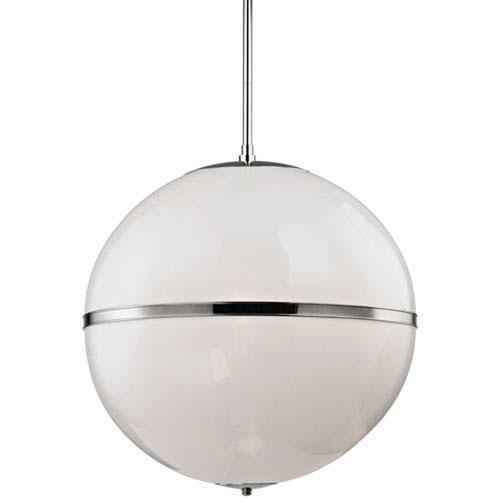 Baker Polished Nickel 30-Inch Three-Light Globe Pendant