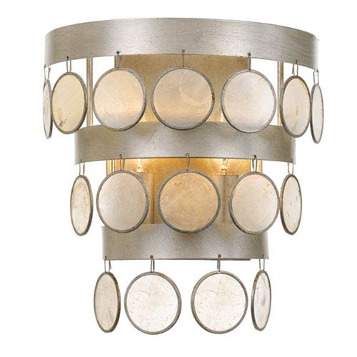 Brittany Antique Silver Two-Light Wall Sconce