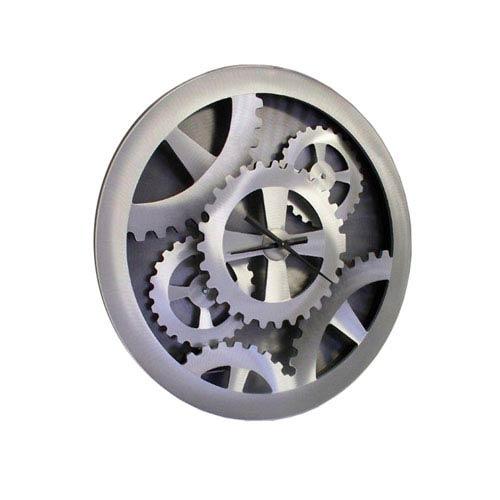 Silver Gears Brushed Aluminum Clock