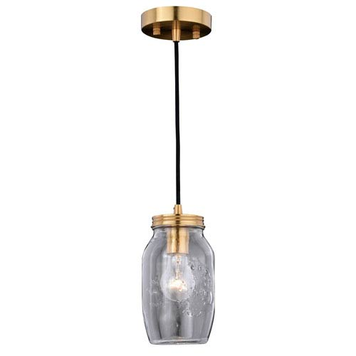 Natural Brass One-Light Mason Jar Mini Pendant