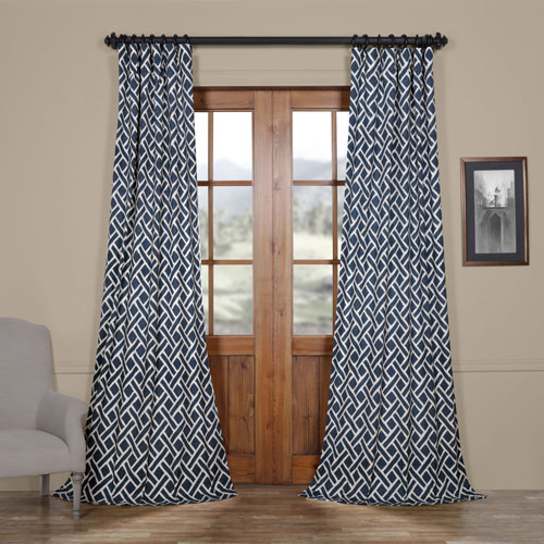 Rose Street Navy Blue 84 x 50 In. Printed Cotton Twill Curtain Single Panel