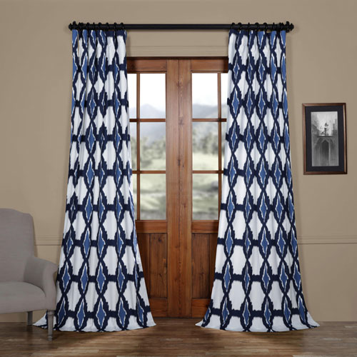 Rose Street Double Blue 108 x 50 In. Printed Cotton Twill Curtain Single Panel