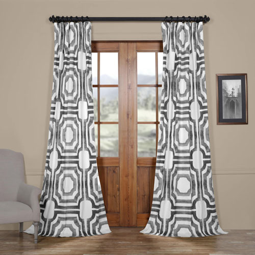 Shiny Steel 120 x 50 In. Printed Cotton Twill Curtain Single Panel