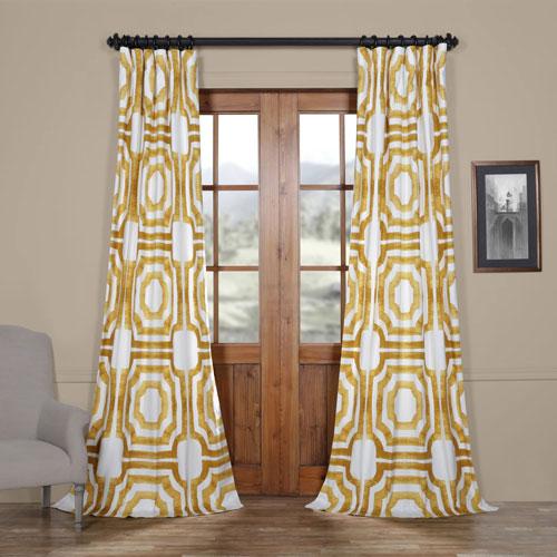 Rose Street Yellow Gold 84 x 50 In. Printed Cotton Twill Curtain Single Panel
