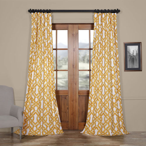 Rose Street Coastal Gold 120 x 50 In. Printed Cotton Twill Curtain Single Panel