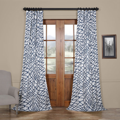 Rose Street Ocean Blue 84 x 50 In. Printed Cotton Twill Curtain Single Panel