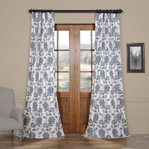 Royal Blue 108 x 50 In. Printed Cotton Twill Curtain Single Panel