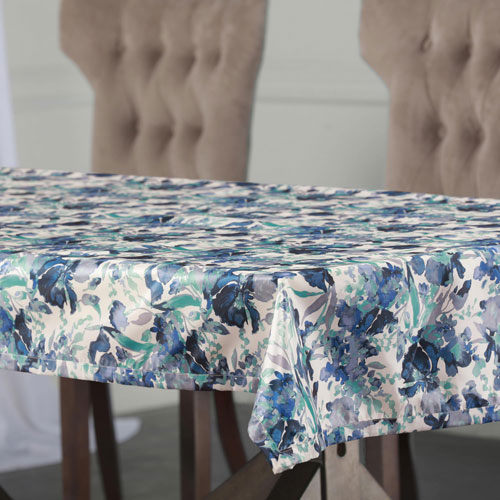 Rose Street Watercolor Turquoise 108 x 54 In. Faux Silk Taffeta Table Cloth