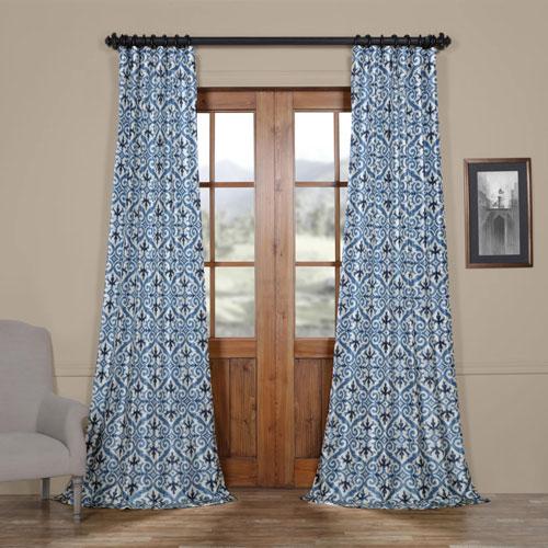 Rose Street Gate Blue 84 x 50 In. Faux Silk Taffeta Blackout Curtain