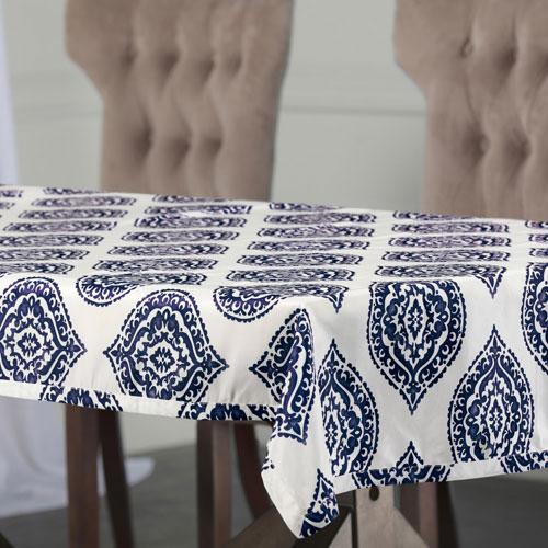 Moroccan Blue 84 x 54 In. Faux Silk Taffeta Table Cloth