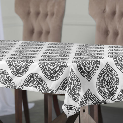 Moroccan Grey 84 x 54 In. Faux Silk Taffeta Table Cloth