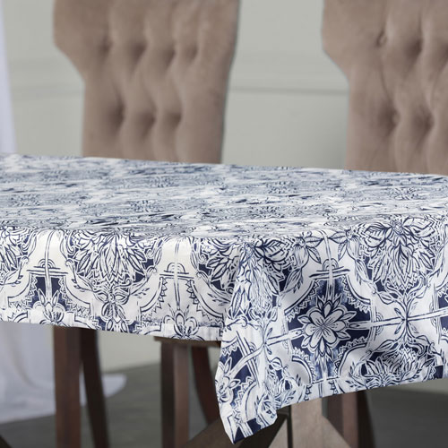 Faded Blue 84 x 54 In. Faux Silk Taffeta Table Cloth