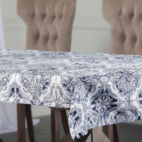 Faded Blue 120 x 54 In. Faux Silk Taffeta Table Cloth