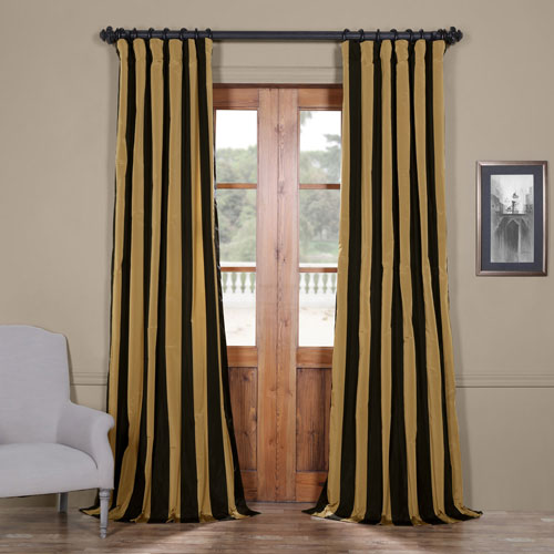 Half Price Drapes Regency Faux Silk Taffeta Stripe Single Panel Curtain, 50 X 120