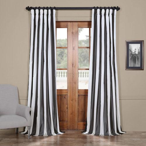 Half Price Drapes Presidio Faux Silk Taffeta Stripe Single Panel Curtain In Charcoal Grey And White