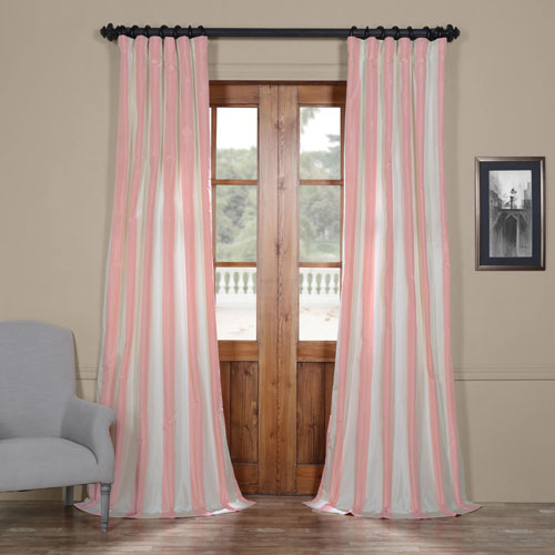 Annabelle Faux Silk Taffeta Stripe Single Panel Curtain, 50 X 96