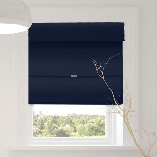 Commodore Blue 39 x 64 In. Room Darkening Cordless Magnetic Roman Shades