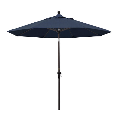 9 Foot Aluminum Market Umbrella Auto Tilt Bronze/Sunbrella/Spectrum Indigo