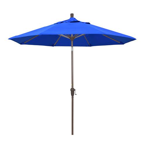 California Umbrella 9 Foot Umbrella Aluminum Market Auto Tilt Champagne/Sunbrella/Pacific Blue