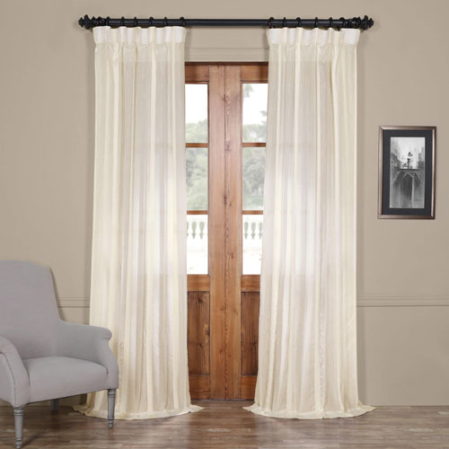 Half Price Drapes Antigua Off White Striped 108 x 50-Inch Sheer Curtain Single Panel