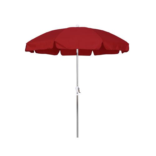 California Umbrella 7.5 Foot Umbrella Patio Push Tilt Anodized/Olefin/Red