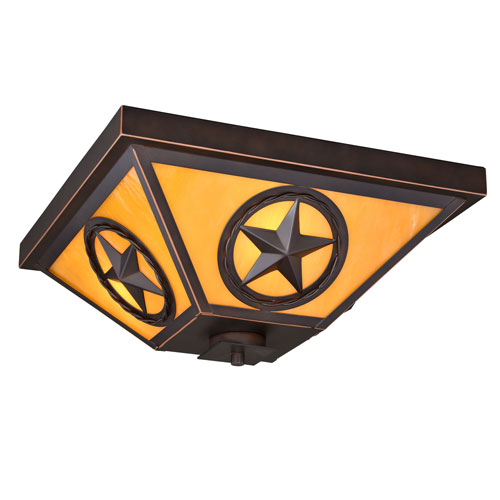 Ranger Burnished Bronze Three-Light Flush Mount