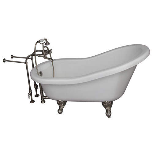 Barclay Products Brushed Nickel Tub Kit 67-Inch Acrylic Slipper, Tub Filler, Supplies, and Drain
