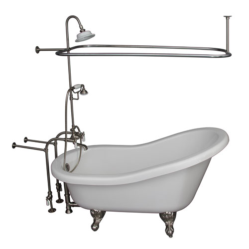 Brushed Nickel Tub Kit 67-Inch Acrylic Slipper, Shower Unit, Supplies, and Drain