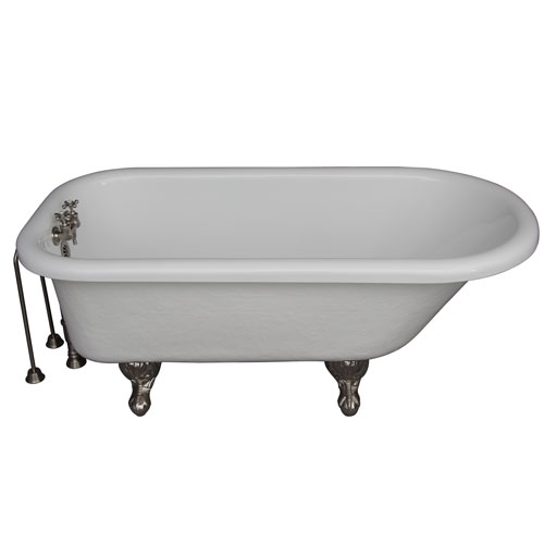 Brushed Nickel Tub Kit 60-Inch Acrylic Roll Top, Tub Filler, Supplies, and Drain