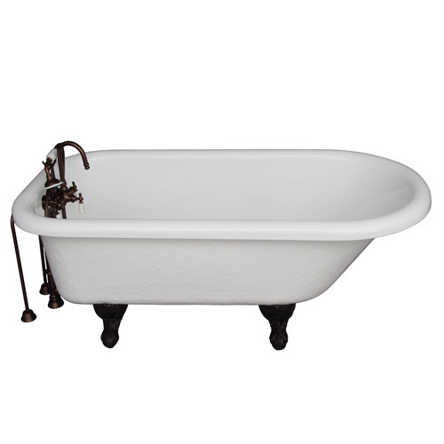 Oil Rubbed Bronze Tub Kit 60-Inch Acrylic Roll Top, Tub Filler, Supplies, and Drain