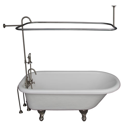 Barclay Products Brushed Nickel Tub Kit 67-Inch Acrylic Roll Top, Shower Unit, Supplies, and Drain