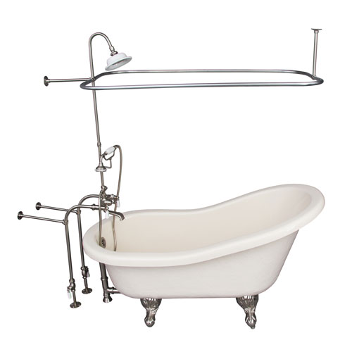 Brushed Nickel Tub Kit 60-Inch Acrylic Slipper, Shower Unit, Supplies, and Drain