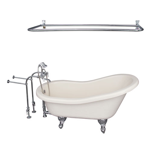 Barclay Products Polished Chrome Tub Kit 60-Inch Acrylic Slipper, Shower Rod, Filler, Supplies, and Drain