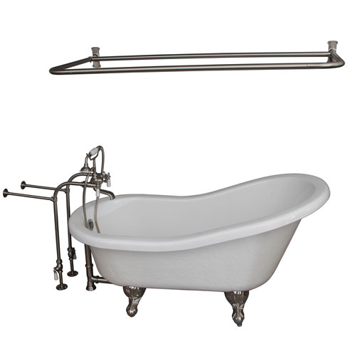 Brushed Nickel Tub Kit 60-Inch Acrylic Slipper, Shower Rod, Filler, Supplies, and Drain