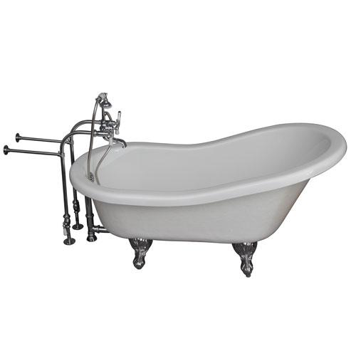 Polished Chrome Tub Kit 60-Inch Acrylic Slipper, Tub Filler, Supplies, and Drain