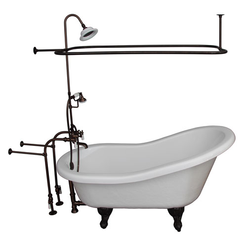 Barclay Products Oil Rubbed Bronze Tub Kit 60-Inch Acrylic Slipper, Shower Unit, Supplies, and Drain